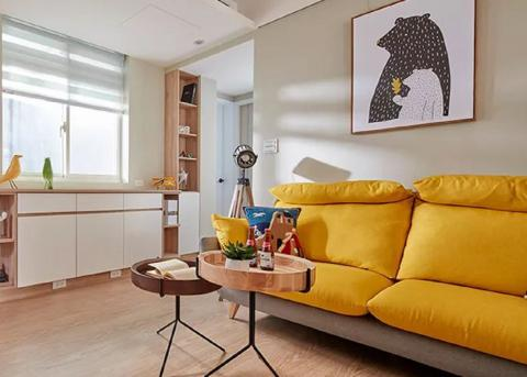 老破小逆襲成北歐風新婚宅,色彩搭配高級又亮眼66㎡ 客廳
