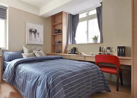 老破小逆襲成北歐風新婚宅,色彩搭配高級又亮眼66㎡ 臥室