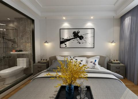 蒙娜麗莎的明亮舒適的美式 臥室