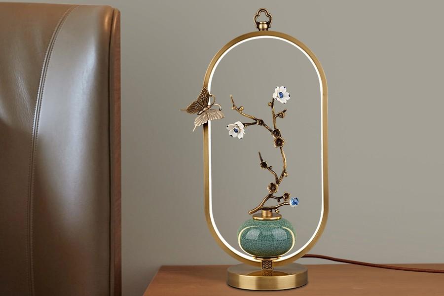 新中式風格 花藝裝飾臺燈 帶光源